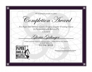Completion Award - Gloria Trapeze