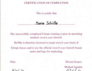 certificate stretchyourlimits Marie